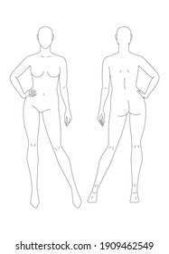 Sketch of a full female body. Front and back view. The position of the hand at the waist. Female body template for drawing clothes. You can print and draw directly on sketches. Fashion Illustration.