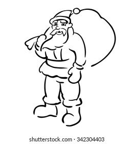 Sketch of funny santa with big bag.