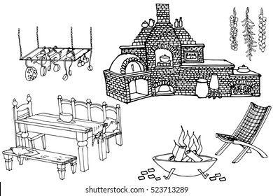 sketch of furniture and equipment for the kitchen in the yard, for outdoor decoration,  vector black lines in white background