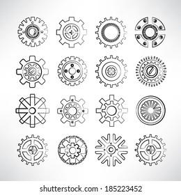 sketch gear icons set