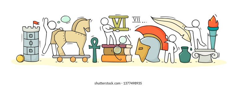 Sketch of geography class with studing little people. Doodle cute miniature of teamwork and ancient symbols. Hand drawn cartoon vector illustration for school subject design.