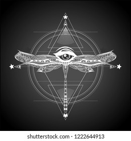 Sketch of geometric pattern. Unalome. Masonic symbol. All seeing eye with dragonfly and sacred geometry.
