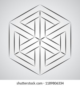 Sketch geometric penrose figure - paradox cube. Pure vector illustration on gray background