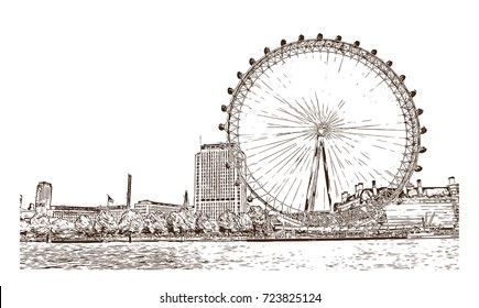 Sketch of Giant ferry London, UK (United Kingdom, England) in vector illustration.