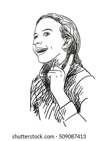 Sketch of girl with finger pointing up having brilliant idea, Hand drawn vector illustration