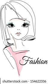 sketch girl hand drawn woman illustration with pink top