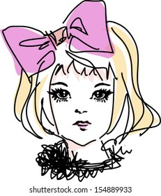 sketch girl hand drawn woman illustration with pink big bow hair accessories