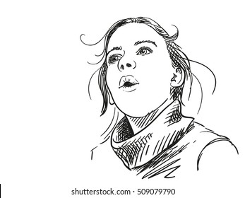 Sketch of girl looking surprised, Hand drawn vector illustration