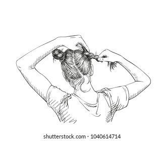 Sketch of girl making two buns hairstyle, pulling hair with hands, view from back, Hand drawn vector illustration