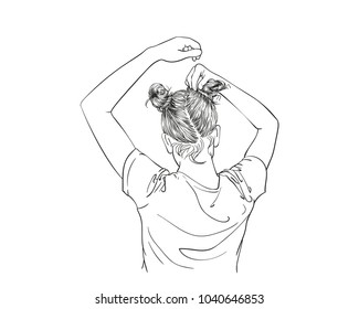 Sketch of girl making two buns hairstyle, pulling hair with hands, view from back, Hand drawn vector line art illustration