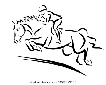 A sketch of a girl on a horse.