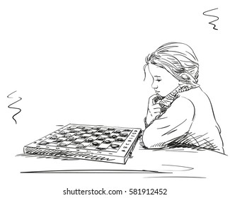 Sketch of girl playing checkers, Hand drawn vector illustration