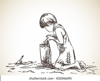 Sketch of girl playing with sand, Hand drawn vector illustration
