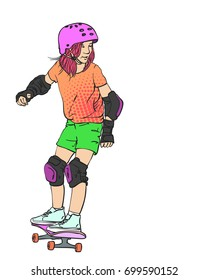 Sketch Of Girl Skateboarder In Full Protection And Helmet Riding On Skateboard Pink Hair