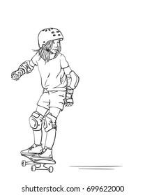 Sketch of girl skateboarder in full protection and helmet riding on skateboard, Hand drawn line art vector illustration isolated on white background