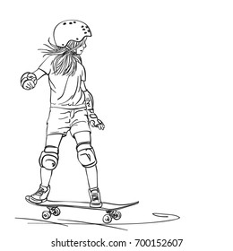Sketch of girl skateboarder with long hair riding on skateboard in full protection and helmet, Hand drawn line art vector illustration isolated on white background