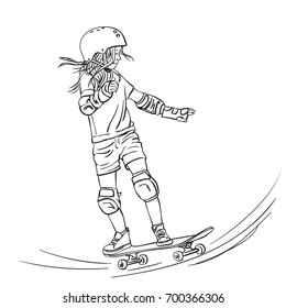 Sketch of girl skateboarder with long hair riding on skateboard in full protection and helmet in skate park, Hand drawn line art vector illustration isolated on white background