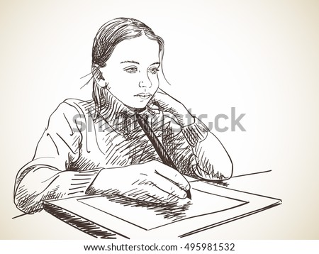 Sketch Girl Studying Draw Using Pen Stock Vector Royalty Free
