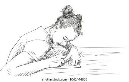 Sketch of girl with two buns hairstyle writing in notebook, Hand drawn vector illustration