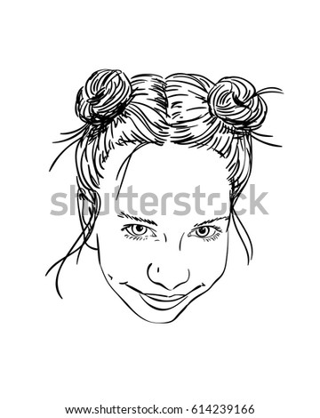 sketch girl two buns hairstyle looking stock vector royalty free