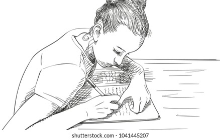 Sketch of girl writing in notebook, Hand drawn vector illustration
