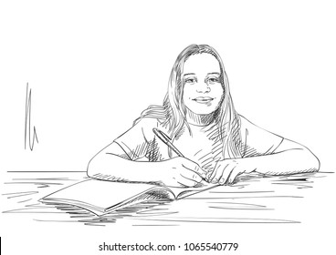 Sketch of girl writing in notebook, Hand drawn vector illustration, Children, education and learning concept