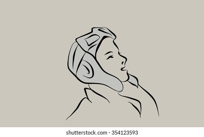 sketch of the girl's head in a helmet pilot