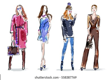 Sketch girls set. Stylish hand drawing women. Colorful female characters. Vector illustration.