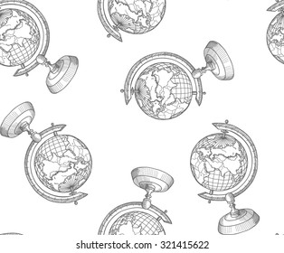 Sketch globe isolated on white background. Back to School doodle seamless pattern. Line art cartoon Earth Globe. Design element for wallpapers, web site background, wrapping paper, scrap-booking etc.