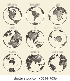 Sketch of globe. South America, North America, Africa, Europe,Asia, Antarctica, Australia, Indian Ocean, Atlantic Ocean.