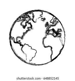 sketch globe world earth map icon