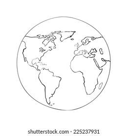 sketch globe world map black on white background vector illustration