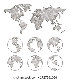 Sketch globe and world map.Vector hand drawn illustration. Earth planet with continents,islands and oceans.