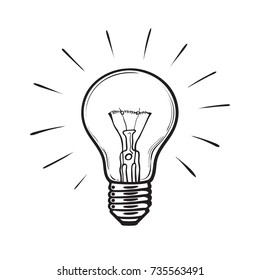 Sketch of glowing light bulb. Creative idea concept.Symbol of Inspiration . Hand drawn vector illustration isolated on white background.