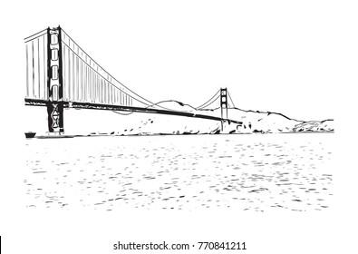 Sketch of Golden Gate Bridge, San Francisco, California, USA in vector illustration.