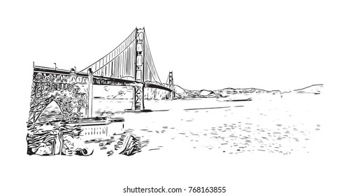 Sketch of The Golden Gate Bridge is a suspension bridge spanning the Golden Gate, the one-mile-wide strait connecting San Francisco Bay and the Pacific Ocean in vector.
