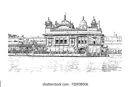 Sketch of Golden Temple Amritsar Punjab, India in vector illustration.