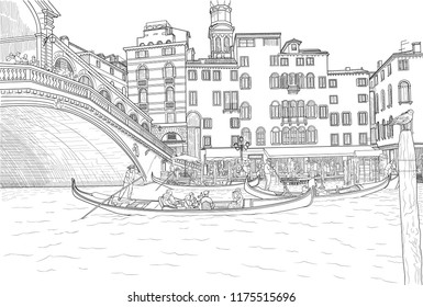Sketch of gondoliers with clients on board on the Grand Canal near Rialto Bridge in Italy
