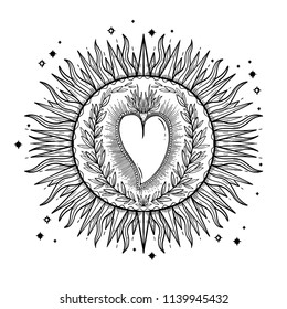 Sketch graphic illustration Beautiful Sun with mystic and occult hand drawn symbols. Vector illustration. Vintage Hands with Old Fashion Tattoos.Freemasonry and secret societies emblems