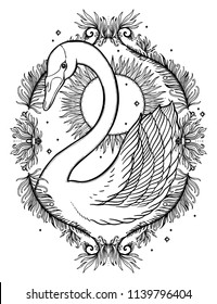 Sketch graphic illustration Beautiful Swan sun fairytale character with mystic and occult hand drawn symbols. Vector illustration. Vintage Hands with Old Fashion Tattoos.Freemasonry