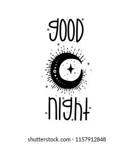 Sketch graphic illustration moon with mystic and occult hand drawn symbols. Vector holiday illustration for Day of the dead Halloween.Astrological and esoteric concept.Good night. Psychedelic style