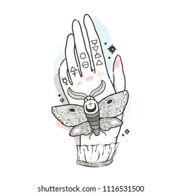 Sketch graphic illustration with mystic and occult hand drawn symbols. Moth is sitting on his hand. Vector illustration. Astrological and esoteric freemasonry concept. Old vintage style.