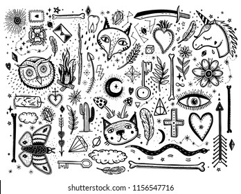 Sketch graphic illustration with mystic and occult hand drawn symbols big set. Vector holiday illustration for Day of the dead or Halloween. Astrological and esoteric concept.Psychedelic style.