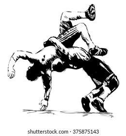 sketch of Greek Roman wrestling