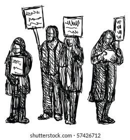 sketch of a group of people protesting with signs