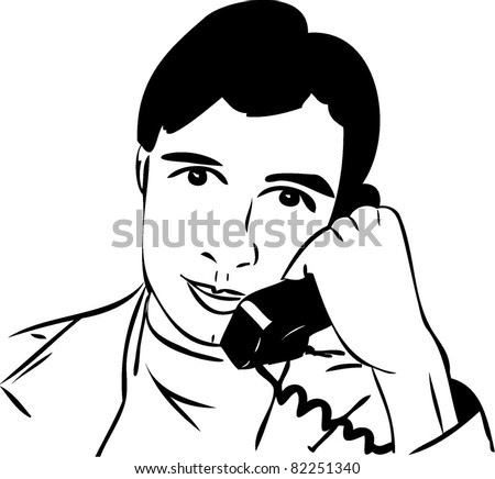Sketch Guy Talking On Phone Stock Vector Royalty Free 82251340