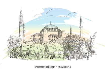 Sketch of Hagia Sophia museum in Istanbul on background of pastel color watercolor splash, Vector hand drawn illustration. November 08, 2017