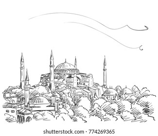 Sketch of Hagia Sophia museum in Istanbul, Hand drawn illustration with hatched shades. December 13, 2017