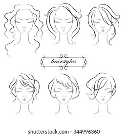 sketch hairstyles for ladies, vector