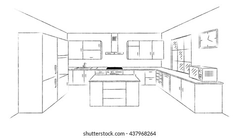 Sketch Modern Kitchen Plan Island Single Stock Vector Royalty Free
